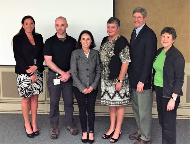 From left, Rebecca Preve of the Franklin County Office of the Aging, Matt Scollin of Adirondack Health, Susan Delahanty of the Adirondack Health Initiative, Tess Barker of Planned Parenthood of the North Country New York, Barry Brogan of the North Country Behavioral Health Network and Phyllis Magnus of Voters for Change pose Thursday, June 29 at a forum Voters for Change hosted. (Photo provided — Steve Erman)