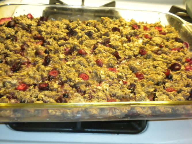 Currant, Peach and Blueberry Crisp  (Photo provided — Yvona Fast)