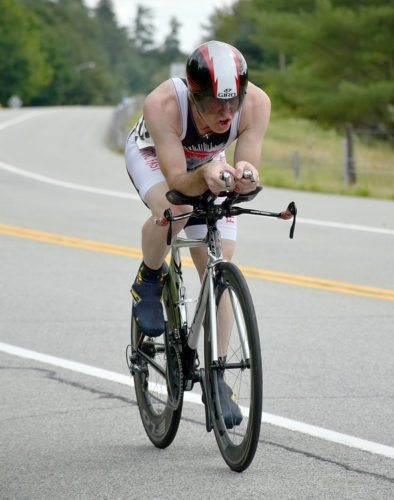 Eric Kreckel, from Morrisonville, races against the clock during the West-Woodward Memorial time trials on Sunday in Upper Jay. (Enterprise photo — Justin A. Levine)