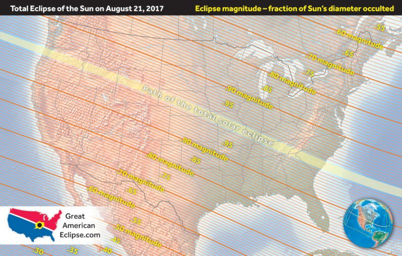 The Aug. 21 solar eclipse will cross the country coast to coast. Though the path of totality passes through the southeast, the Adirondacks will get around 62 percent coverage during the eclipse. (Photo provided)