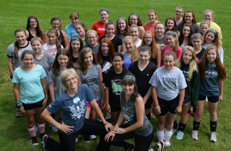 Participants in the Pounce Volleyball Clinic pose for a photo during the three-day camp at North Country Community College in Saranac Lake in July. The camp was led by NCCC coach Susan Waters and Paul Smith's College coach Christina Carpenter and drew 36 girls from the Tri-Lakes area. Front row, from left, Susan Waters and Christina Carpenter. First row: Hayleigh Colon, Maisie Crane, Caterra Ratelle, Holly Kurtz, Kathleen Montroy, Tailor Whitson, Sydney Andronica and Kelsey Leeret. Second row: Sydney Leeret, Mya Gerstenberger, Caydence Tyo, London Tyo, Sydney Lawrence, Dayna Bearce, Gwen Mader and Alison Hewitt. Third row: Hannah Dresser, Mackenzie Taylor, Alexis Callaghan, Sierra LaValley, Maddie Beaney, Meagan O'Brien, Haley Giroux and India Hunt-Lamb. Fourth row: Emma Kielmeier, Abigail Duquette, Kate Siskavich, Mia Sanford, Maddie Gay, Nora Glover, Julia Crawford, Madison Clark, Lexi Johnson, Katie Gay, Bella Burcume and Grace Caton. (Photo provided)