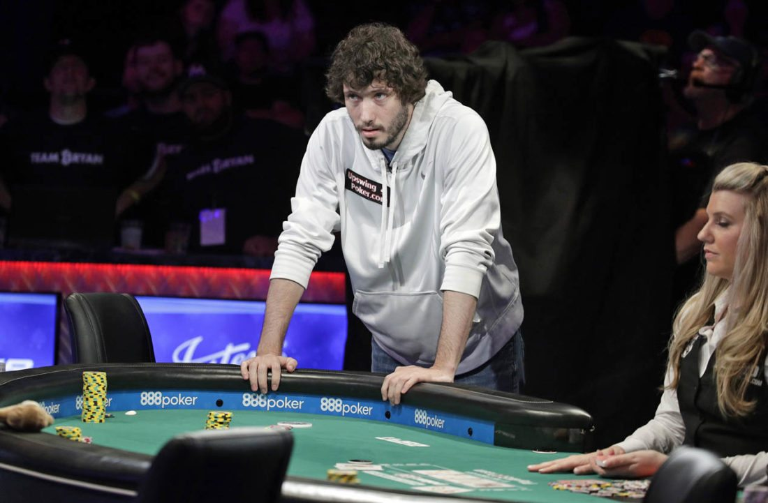 Dan Ott Stands Over The Table After Going All In During The Main Event Of  The World Series Of Poker, Thursday, July 20, 2017, In Las Vegas.
