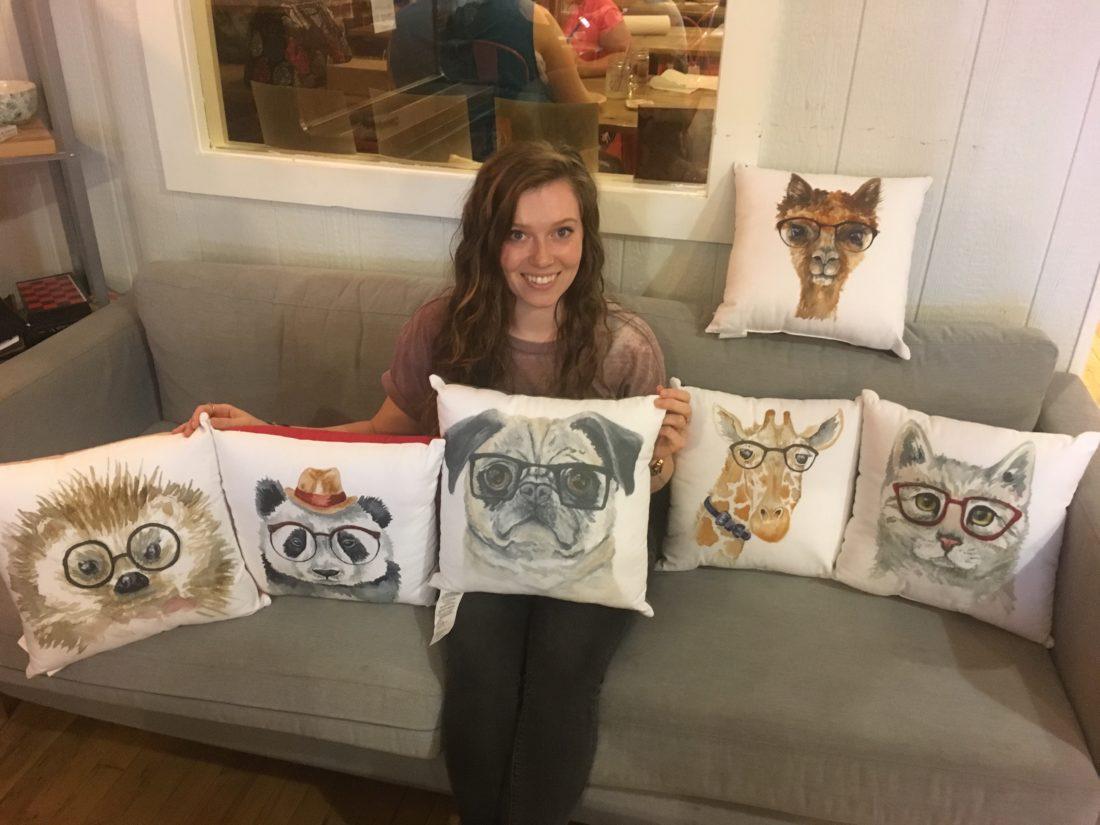 artist s work graces pillows t j maxx bought hipster animal art