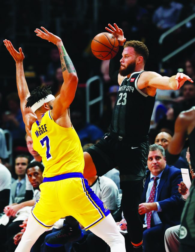 cheaper 2d887 629f5 AP photo Detroit Pistons forward Blake Griffin (23), defended by Los  Angeles Lakers center JaVale McGee (7), throws the ball inbounds Friday in  Detroit.