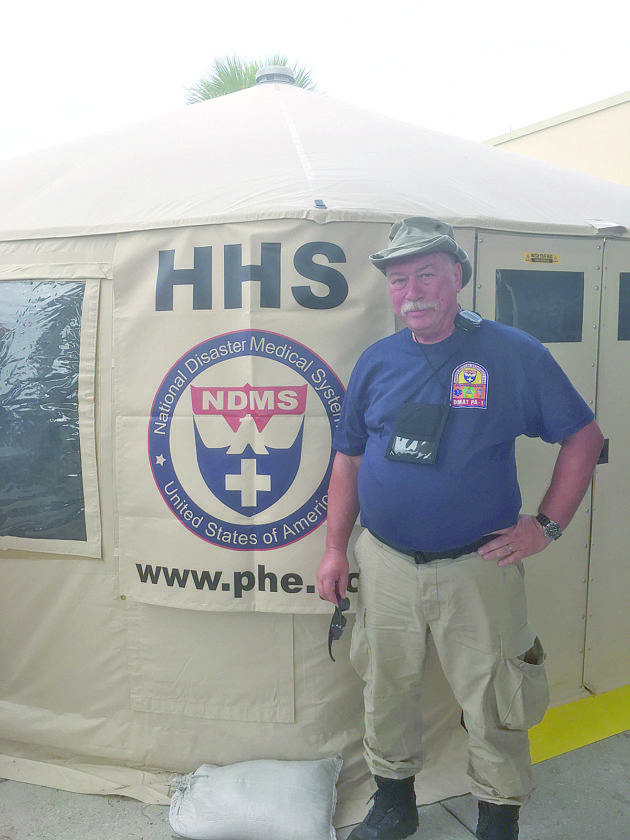 READY TO HELP — Michael Beach, a nurse practitioner from Steubenville, participates in a federal Disaster Medical Assistance Team. He has been deployed after four hurricanes, most recently for Irma in Florida. -- Contributed