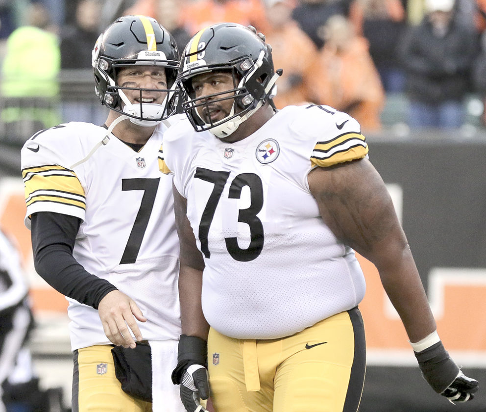 35abdc834 Pittsburgh Steelers quarterback Ben Roethlisberger (7) reacts with  Pittsburgh Steelers offensive guard Ramon Foster (73) in the second half of  an NFL ...