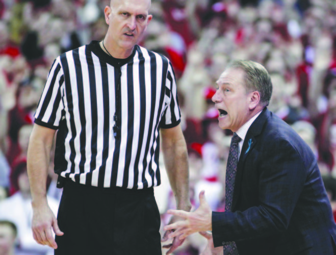 Michigan State Head Coach Tom Izzo pleads with referee D.J. Carstensen during the second half Sunday.AP Photo