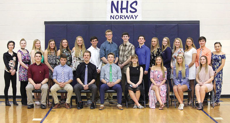 Norway High School inducted 16 new members to the National Honor Society at a ceremony in May. New members were selected based on high achievement in scholarship, character, service and leadership. These new members, as well as second-year senior members of the National Honor Society, were recognized at the honors banquet. Second-year senior members in the front row, from left, are Alan Kay, Joshua Plante, Connor Ortman, Micah Wilson, Taryn Davis, Payton Castelaz, Jenna Johnson and Emily St. Vincent. New inductees, from left, are juniors Emilie Rake, Anna Anderson, Amanda Bekkala, Haley Clifford, Holly Mattia; senior Kayte Casanova; junior Trevor Anderson; senior Joshua Boulden; juniors Mitchell LeGrave, Joseph Angeli, Katherine Leiker, Ada VanHolla; senior Sheyenne Skog; junior Allison Sheski; seniors Brett Houle and Camie Clark.