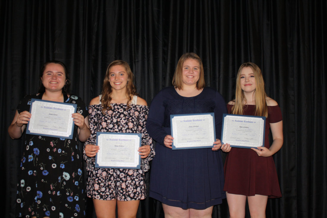 The Woodland PTO Association established a scholarship to recognize graduating seniors who attended Woodland Elementary. Applicants must have attended Woodland for at least three years. This year, in remembering Taylor Bosley and Jolene Treml, Woodland PTO chose to award four $500 scholarships. The recipients are, from left, Sarah Harris, Renee Roberts, Avery Streckert and Piper Strehlow.