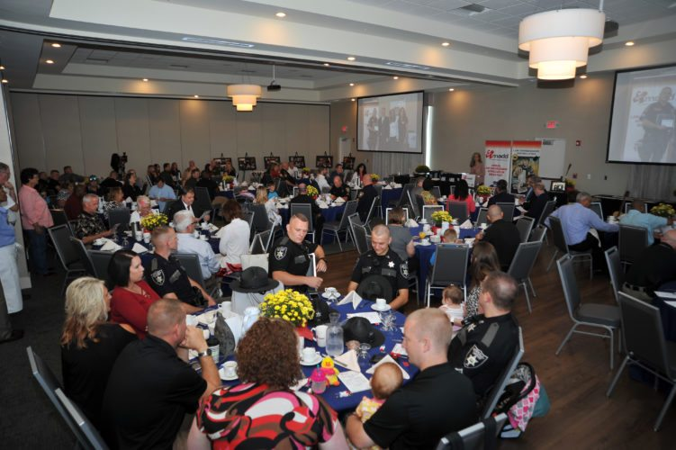 Law enforcement officials from Berkeley, Jefferson and Morgan counties along with Ranson, Shepherdstown, Charles Town, Berkeley Springs and Martinsburg city police departments attend the Annual Law Enforcement Breakfast sponsored by MADD and the Governor's Highway Safety Office in Martinsburg Saturday. (Journal photo by Jeff McCoy)