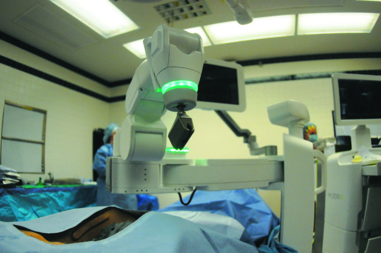 22 Mazor Robotics4 ra 08-21-17 This is a closeup of the Masor X robotic arm in OR 3 Tueday afternoon at the Berkeley Medical Center. (Journal Photo by Ron Agnir)