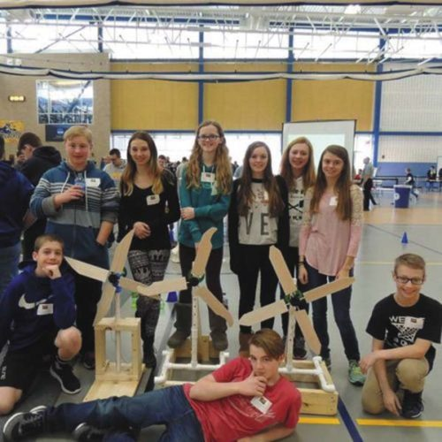 Members of the KidWind projects at Lake Pleasant Central School District in Speculator are, from left, Jeremiah Pierce (lying down) and Joshua Griffith and Daniel Johnson (squatting). Standing, from left:Alex Shepherd, Morgan Lane, Willa Perkins, Alexis Brooks, Madeline Braunius and Sarah Smith. (Photo submitted)