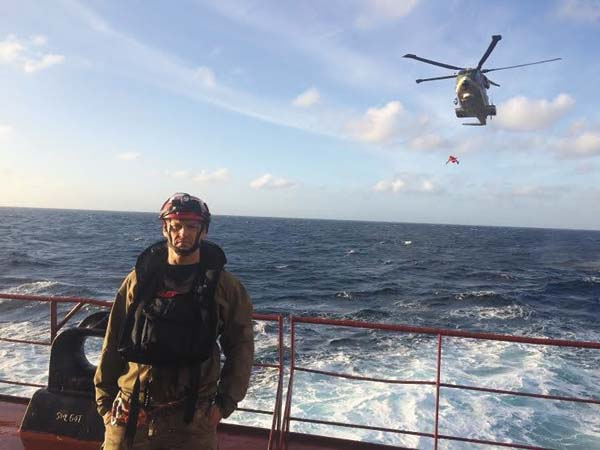 Erik Blom on deck  of a ship. (Photo submitted)