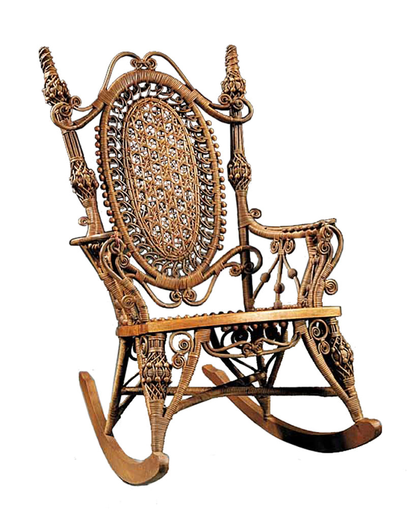 Ornate Victorian designs worked well for wicker furniture. This labeled well-preserved Heywood-Wakefield rocking chair sold recently at Neal Auction Co. in ...  sc 1 st  Lawrence Journal-World & Kovelu0027s Antiques: Wicker furniture goes in out of style | News ...
