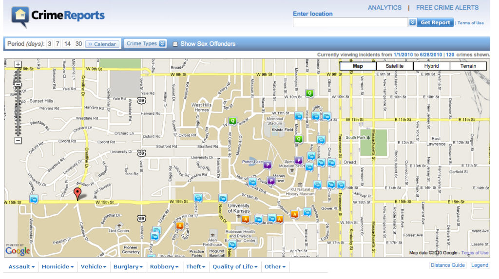KU Public Safety debuts online crime map | News, Sports, Jobs ... on