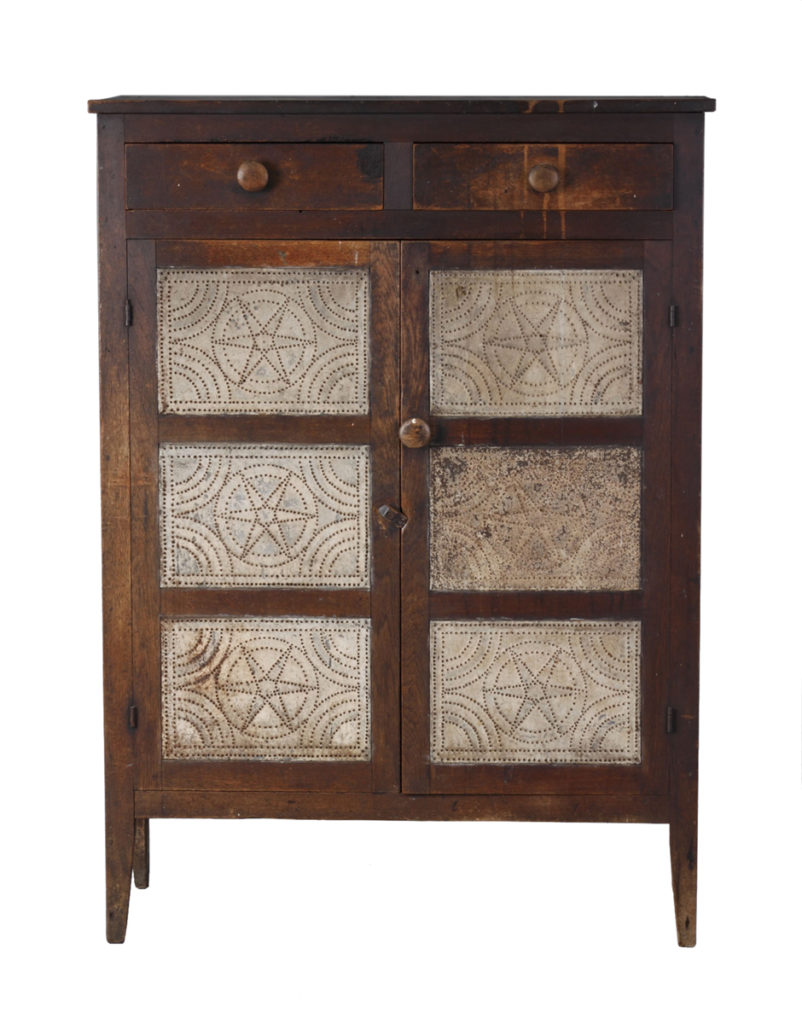 Antique Cabinet Panel Star Pattern Pie Cupboard Plated Pie Safe Tin