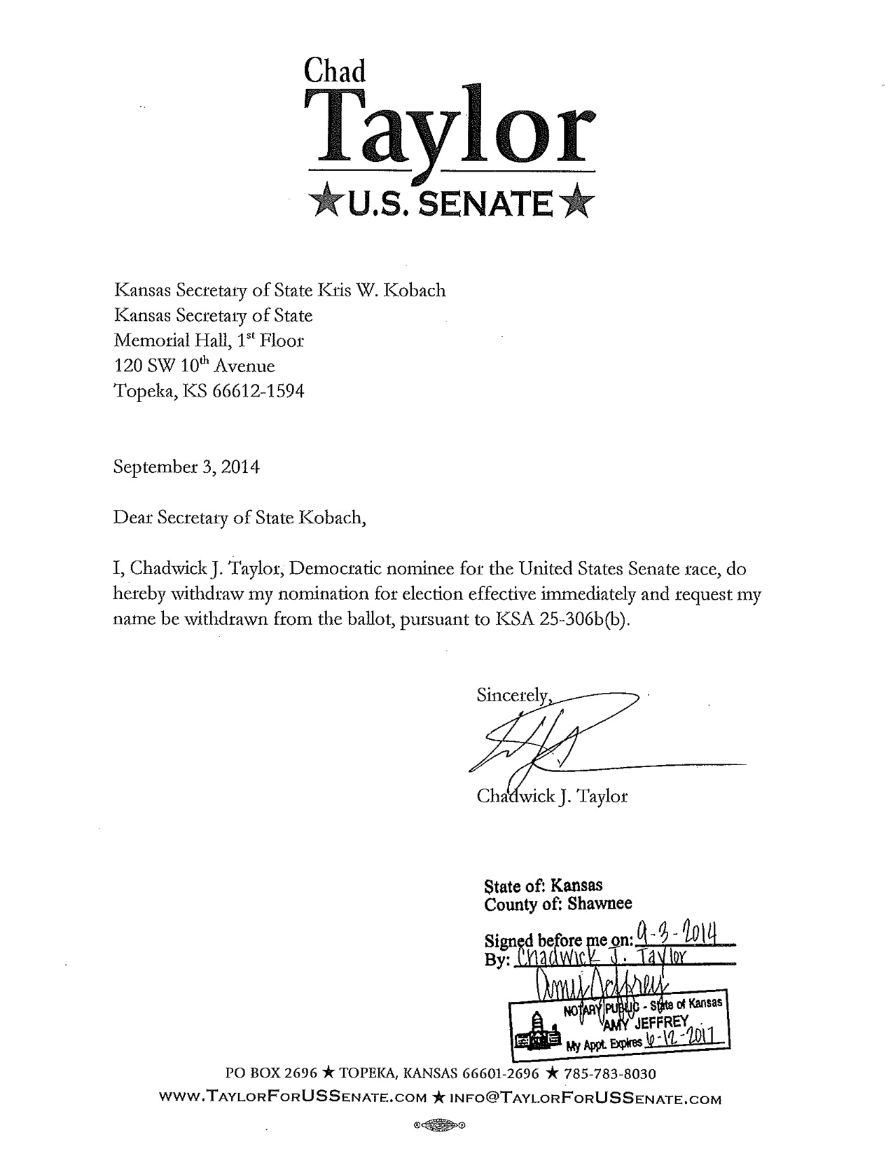 elections 2014 taylor withdraws from u s senate race news SW 10Mm elections 2014 taylor withdraws from u s senate race news sports jobs lawrence journal world news information headlines and events in lawrence