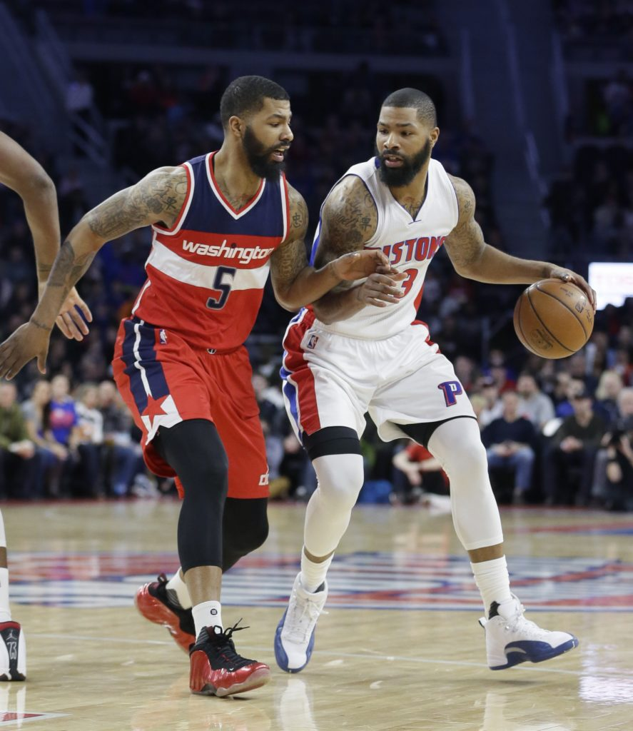 Washington Wizards forward Markieff Morris (5) defends Detroit Pistons  forward Marcus Morris during the first half of an NBA basketball game 8098f5405