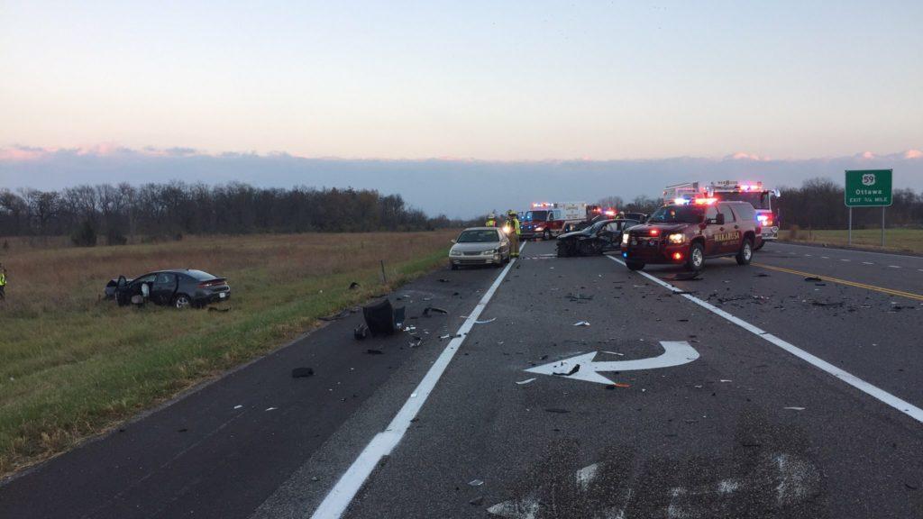 Five people injured in three-car crash on K-10, Highway Patrol says