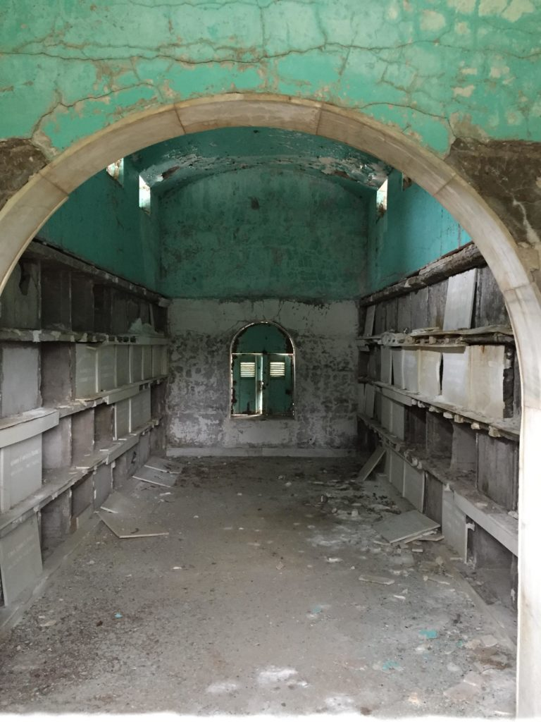 disrepair of 100 year old oak hill cemetery mausoleum has no easy