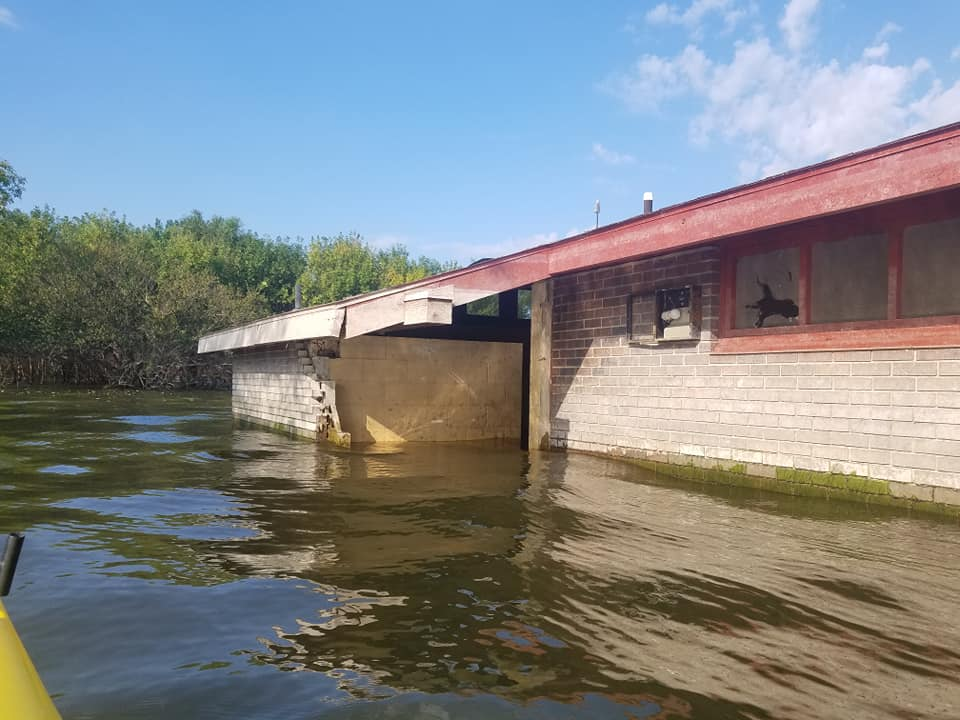 The flooded and damaged Bloomington Beach showerhouse at Clinton Lake is pictured in this photo posted Friday, Aug. 30, 2019, by the Clinton Lake U.S. Army Corps of Engineers.
