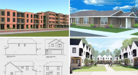 Several projects have applied for funding from Lawrence's Affordable Housing Advisory Board in 2019. They are, top row from left, Penn Street Lofts (rendering by H2B Architects) and Bethel Estates of Lawrence Phase II (rendering by Wallace Architects), and bottom row from left, Westside Affordable Ownership Development (rendering by HMA Architects) and 23 Tenn Flats (rendering by Hoke Ley Architecture & Design).