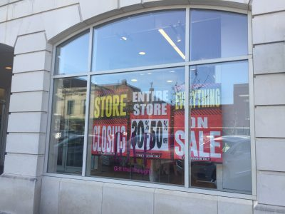 Signs went up Tuesday announcing that Gap would close its store at 643 Massachusetts Street. The company earlier this year had announced it would close about 230 stores, but had not released a list of specific store closings.