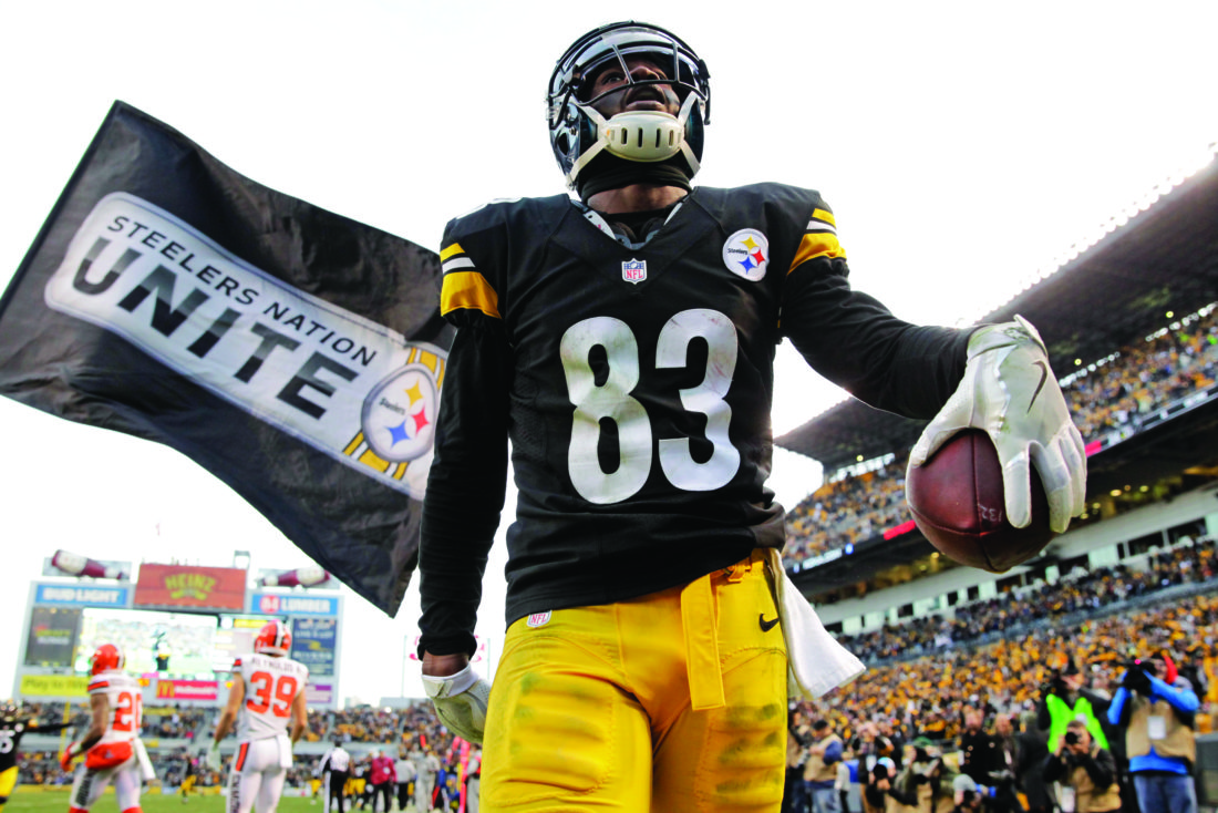 a9e4d4c5807 Pittsburgh Steelers wide receiver Cobi Hamilton (83) holds the ball after  making the game-winning touchdown catch during overtime of an NFL football  game ...
