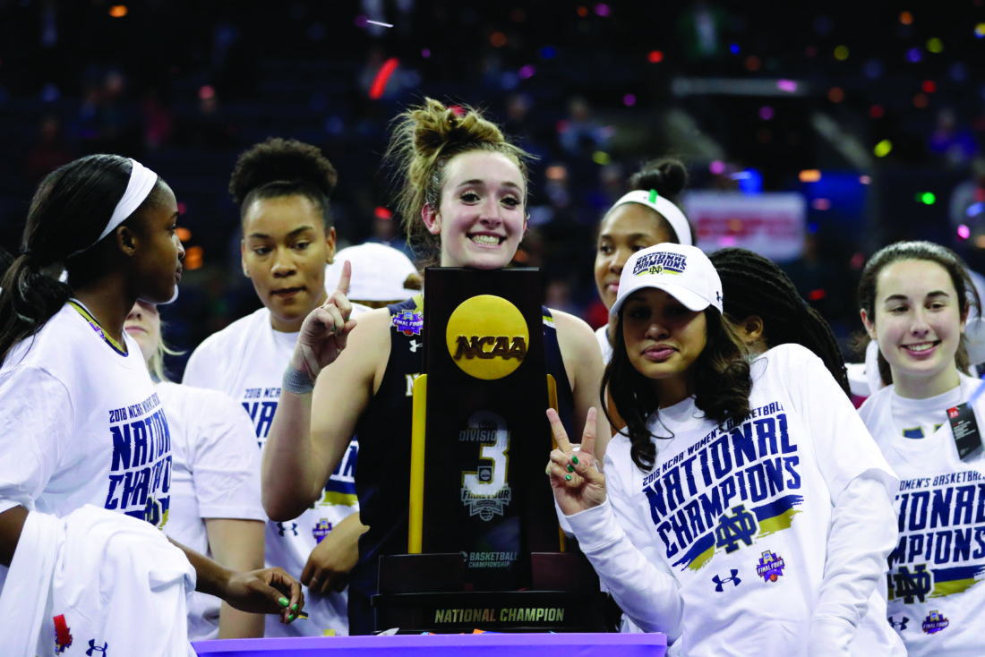 477dab0e3c91 Notre Dame s Marina Mabrey holds the trophy after defeating Mississippi  State in the final of the women s NCAA Final Four college basketball  tournament