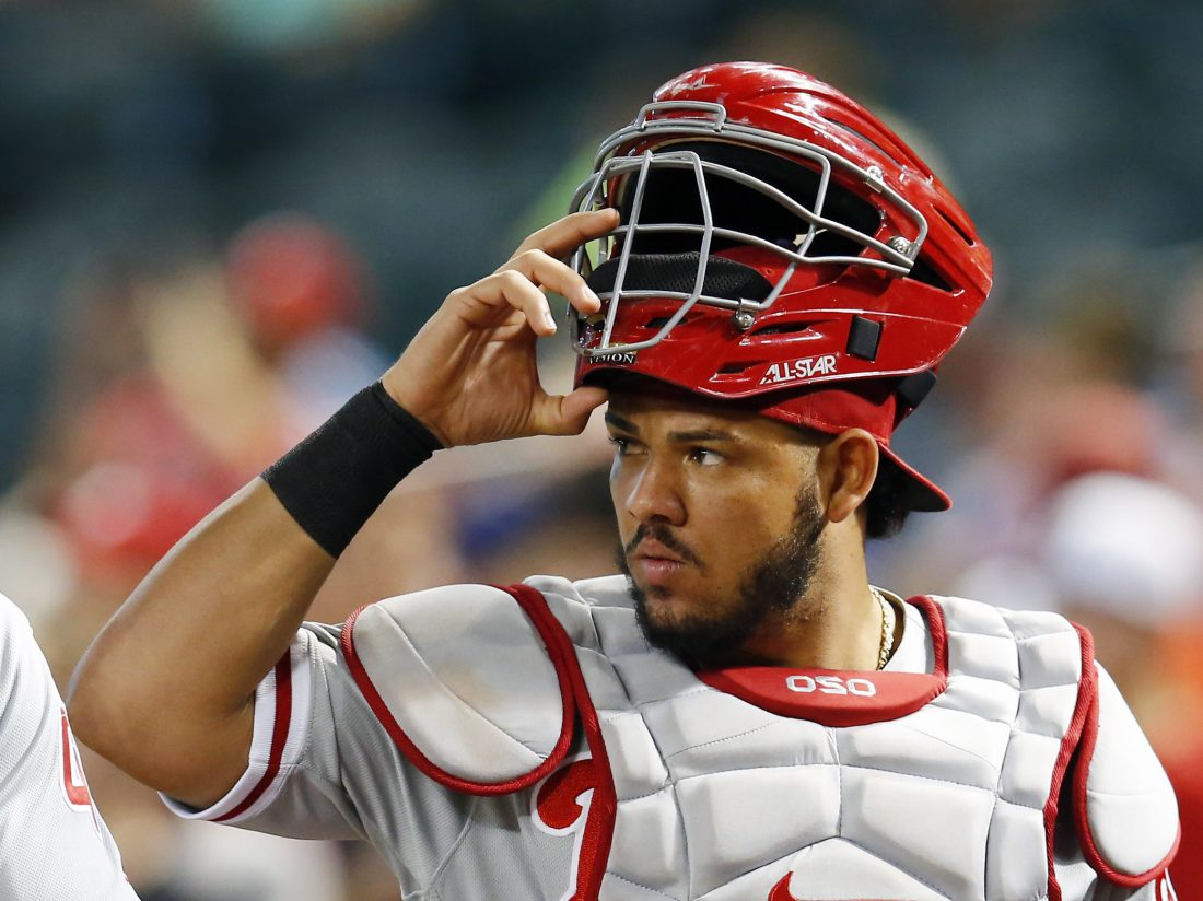 a5f8f2276 6, 2018 file photo, Philadelphia Phillies catcher Jorge Alfaro (38) watches  in the first inning during a baseball game against the Arizona Diamondbacks  in ...