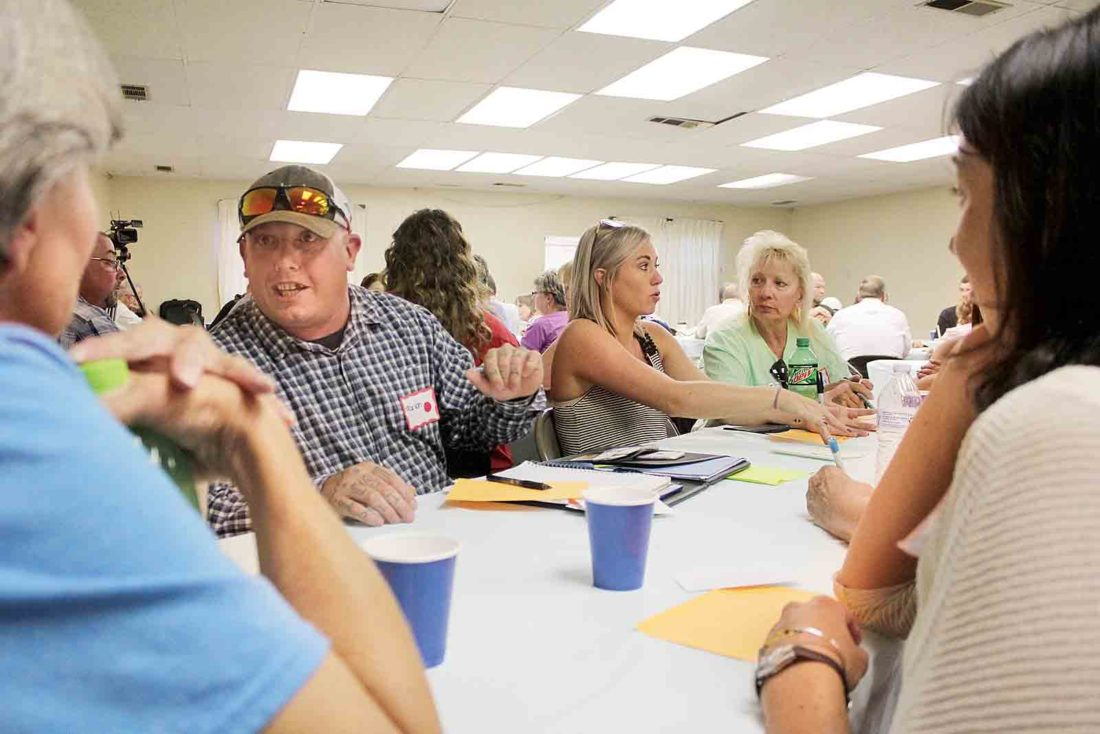 ... right center, discuss with families, educators and judicial system  members barriers, causes and solutions for addiction at the final opioid  forum hosted ...