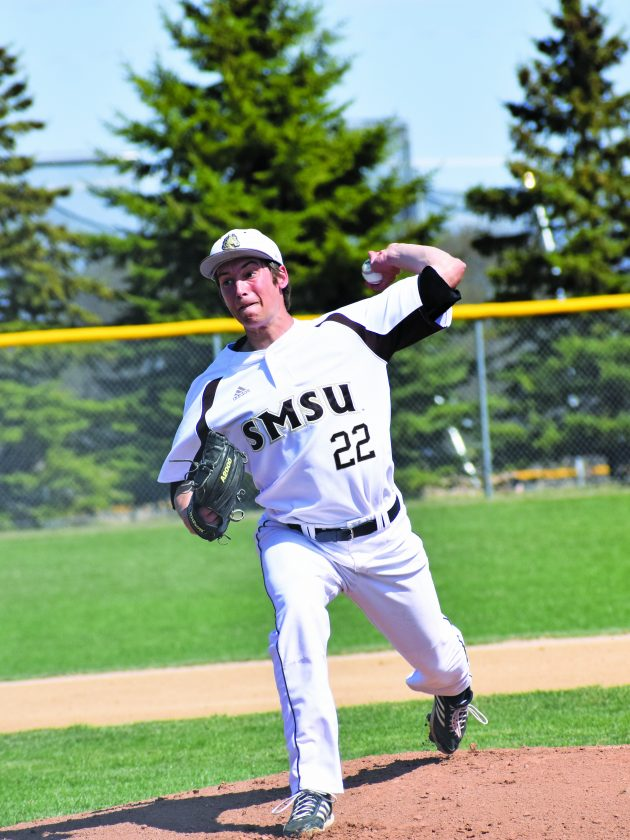 9347db695 Independent file photo SMSU's John Bezdicek delivers a pitch during their  May 3, 2018 game against Bemidji State.