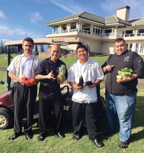 Plantation House morning manager Andreas Berry (from left) Executive Chef Jojo Vasquez and chefs Gemsley Balagso and Sonny Balisco are cooking foods for tournament pass holders from Jan. 5 to 8 daytime and for the public each night of the popular pro golf championship.  Plantation House photo