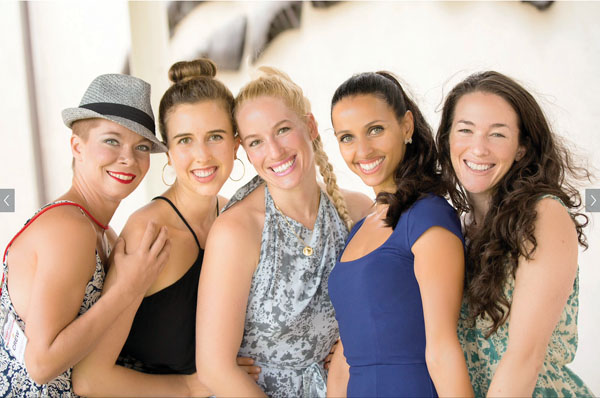 Shown are Adaptations Dance Theater founding company member Nicole Yezzi (from left), co-founder and founding company member Nicole Humphrey, co-founder and Artistic Director Hallie Hunt, founding company member Vanessa Cerrito and co-founder and Executive Director Amelia Couture.