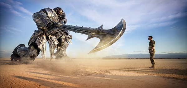 "Megatron and Josh Duhamel in a scene from ""Transformers: The Last Knight."" Paramount Pictures / Bay Films via AP photo"
