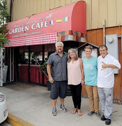 "Food Network host Guy Fieri (at left) with Bernard Weber (right) and others filming of ""Diners, Drive-Ins and Dives"" in Kahului."