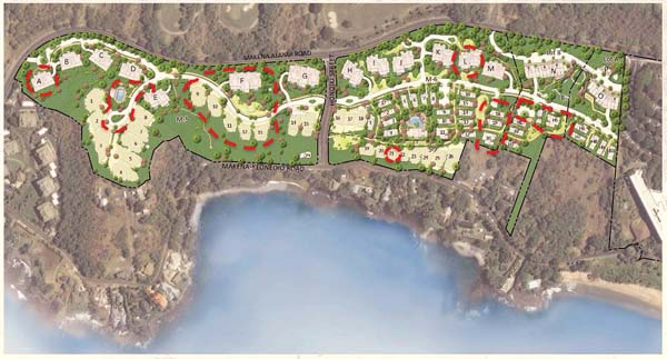 BEFORE: Design plans for the Makena Resort show the latest changes in response to community concerns, including adding more open space, removing buildings and moving units farther away from Makena Landing.