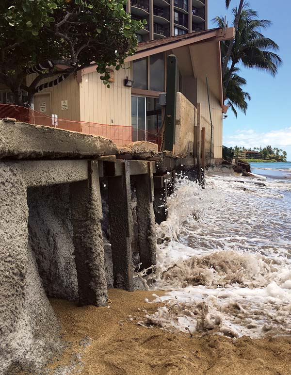 3396084f86 This photo from May 2016 shows erosion threatening a structure and part of  Royal Kahana s pool deck. TARA OWENS photo