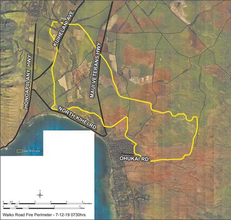 maui brush fire map