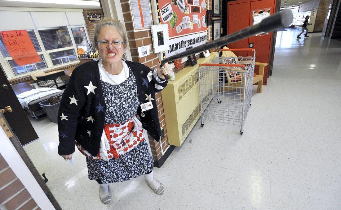 nurse dressed like she is 100 years old