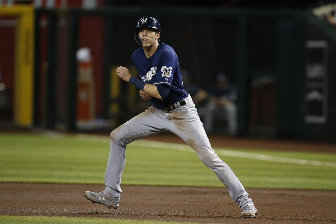 Yelich takes 13-game hit streak into matchup with Cubs