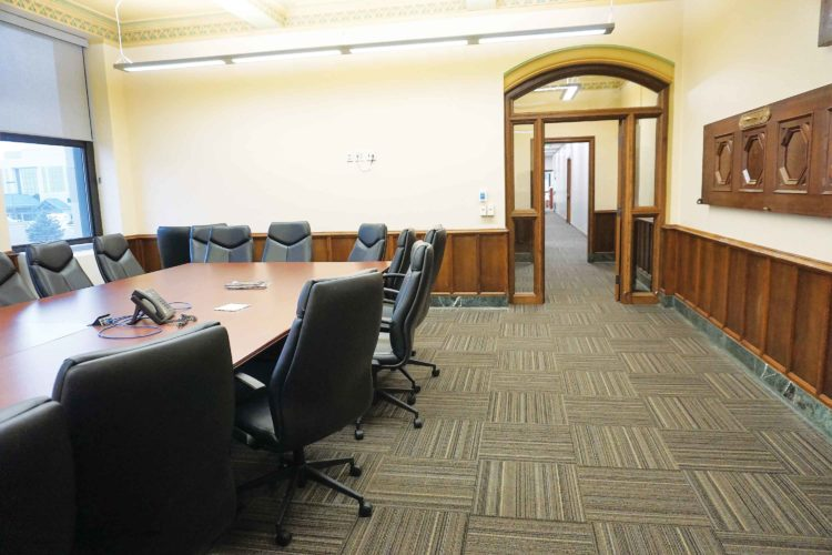 Jill Schramm/MDN The former Ward County commissioners' chambers now serves as a conference room in the State's Attorney's office.