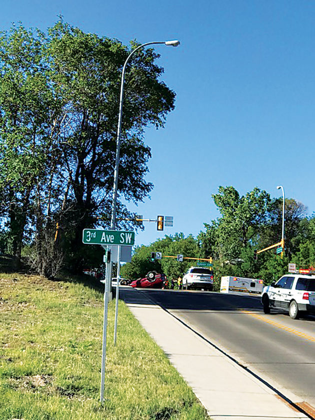 Karen Weber/MDN Two drivers were treated for minor injuries, with one transported to Trinity Hospital, following a two-car accident in Minot Monday morning. The vehicle driven by 60-year-old Joann Thull was traveling northbound on Sixth Street SW and entered the intersection at West Burdick Expressway while the traffic control signal displayed red. Thull's vehicle was struck by a vehicle traveling west on Burdick Expressway, which was driven by 25-year-old Emily Whitfield. The collision caused Thull's vehicle to roll onto its top. Thull was treated on scene for nonlife-threatening injuries and transported to Trinity Hospital for further treatment. Whitfield was treated for minor injuries on scene and refused medical transport. Thull was cited for disregarding a traffic control signal.