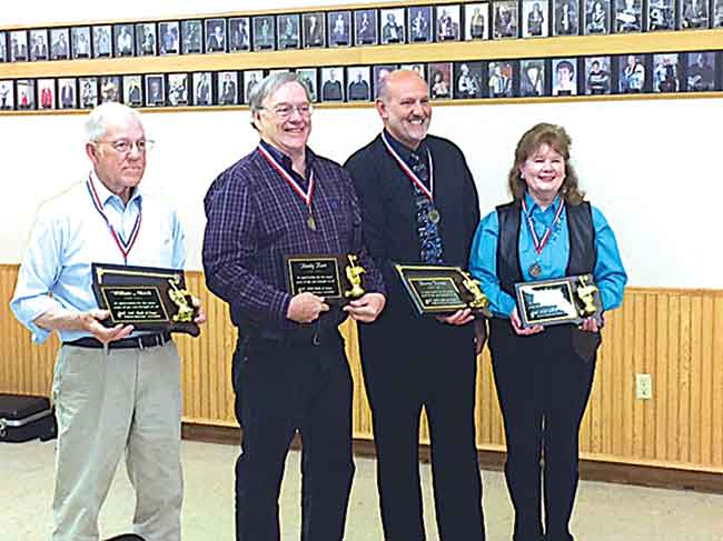 North Dakota musicians Bill Merck, left, Randy Karr, Kevin Ternes and Brenda Johnson were inducted into the Dakota Musician Association Hall of Fame May 18 at the Eagles Club in Aberdeen, S.D.   SubmittedPhoto