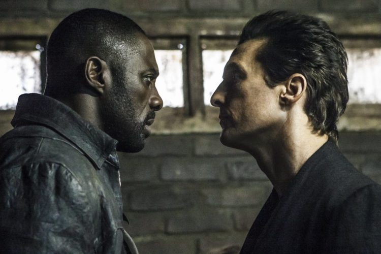 "This image released by Sony Pictures shows Idris Elba, left, and Matthew McConaughey in the Columbia Pictures film, The Dark Tower."" (Ilze Kitshoff/Columbia Pictures/Sony via AP)"