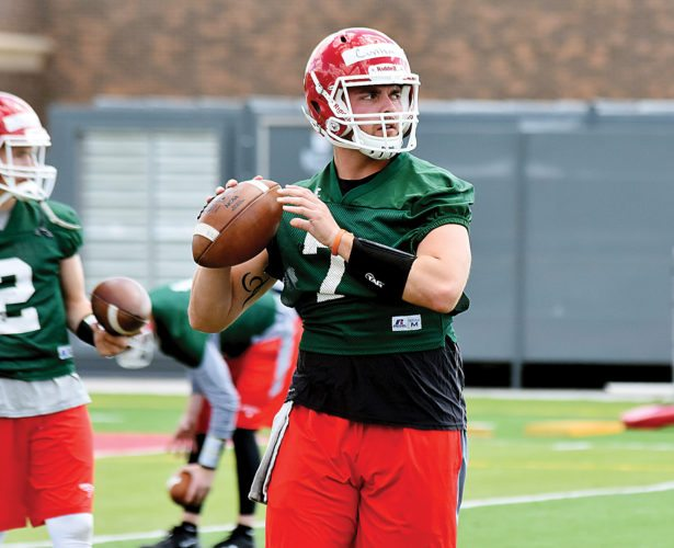 Garrick Hodge/MDN Minot State senior quarterback Zac Cunha throws a pass during a college football practice Thursday in Minot.