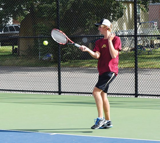 Garrick Hodge/MDN Pictured is Minot High's Connor Templeton, who is expected to be near the top of the lineup for the MHS tennis team this season.