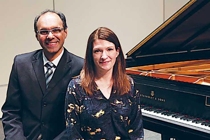 Minot State University Choir Director Carlos Vieira and Luminus member Dianna Anderson.  Submitted Photo