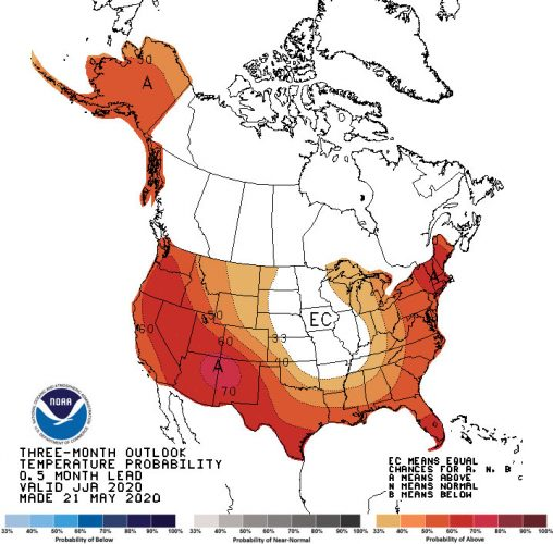 Hot, dry favored through August