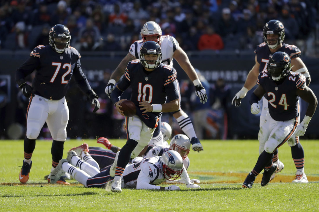 Chicago Bears quarterback Mitchell Trubisky (10) scramble sduring the  second half of an NFL football game against the New England Patriots  Sunday 46734acd9